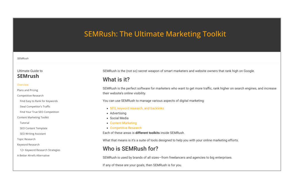 SEMRush guide from The Marketing Introvert