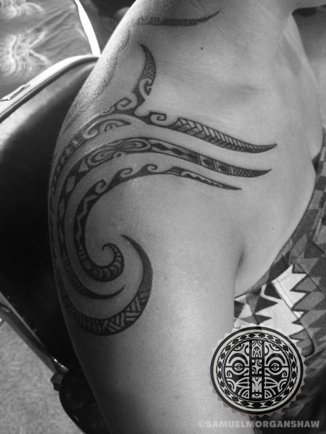 Mixed Polynesian style tattoo by Samuel Morgan Shaw