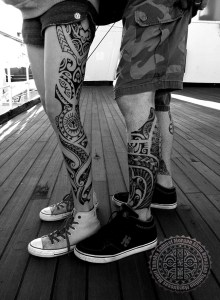 Mixed polynesian tattoos