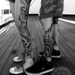 Mixed polynesian tattoos