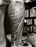 A fun freehand Samoan style leg tattoo