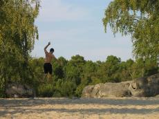 First day ever of slack line ! - Fontainebleau