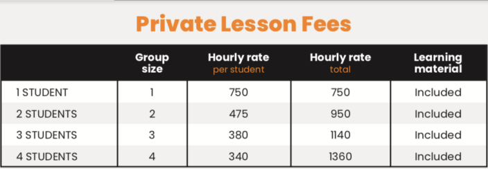 Private Lesson Fees 1 Jun 2019