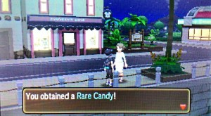 Get a Rare Candy from the woman across the street.
