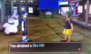 Hau gives you the Dire Hit once you beat him
