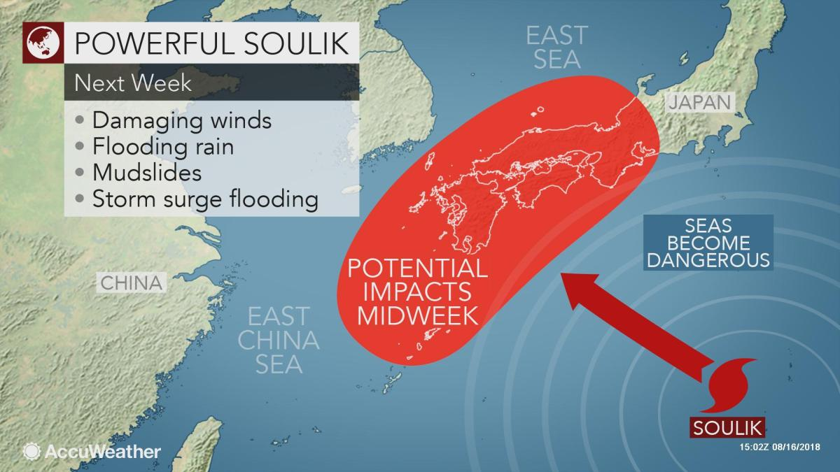 Soulik may become a powerful typhoon before threatening Japan next week - AccuWeather.com