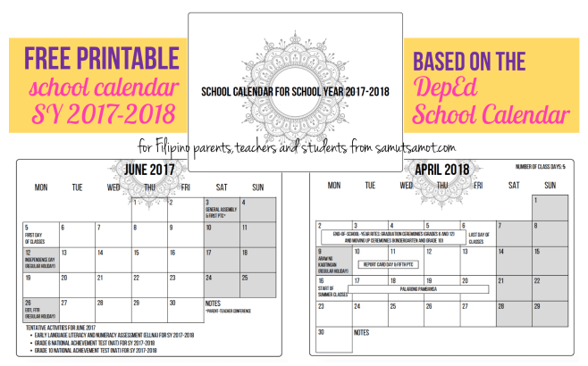 free printable deped school calendar 2017 2018