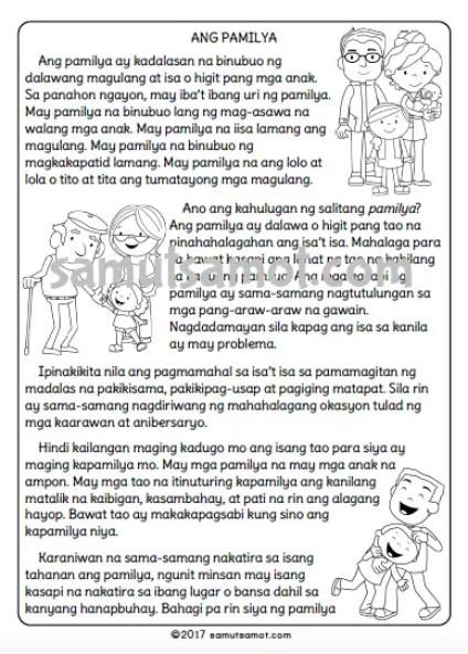 Pagbasa sa Filipino: Ang Pamilya - Samut-samot