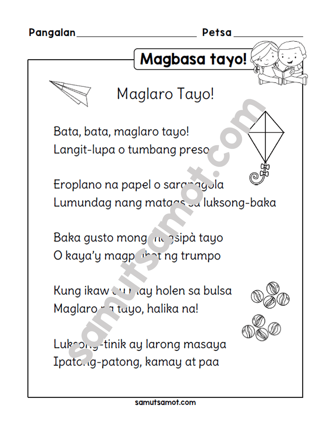 Pandiwa Worksheet Grade 2