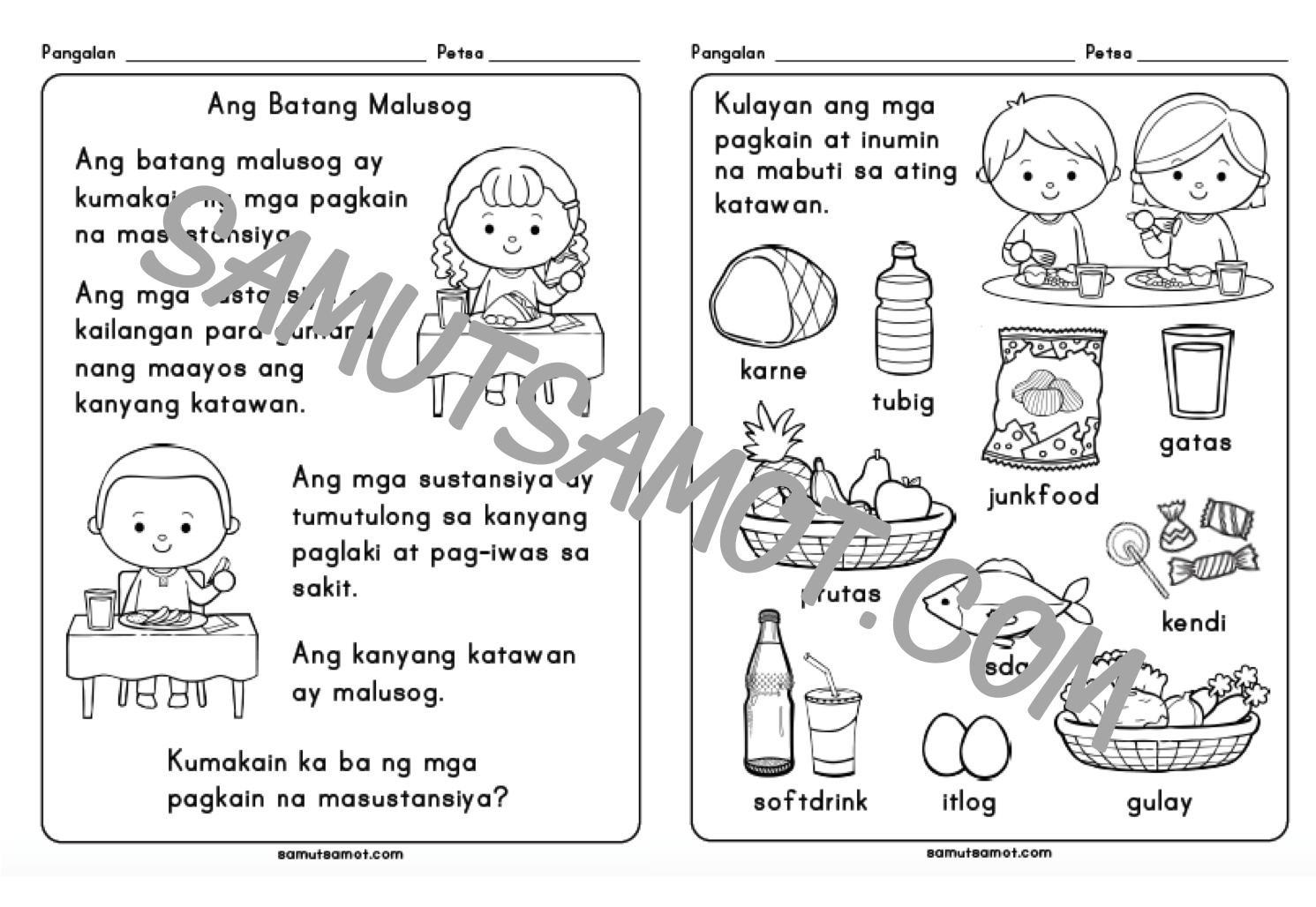 Worksheet On Filipino Grade 2