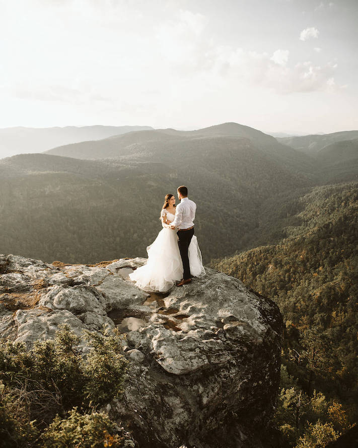 couples day after session at Linville gorge