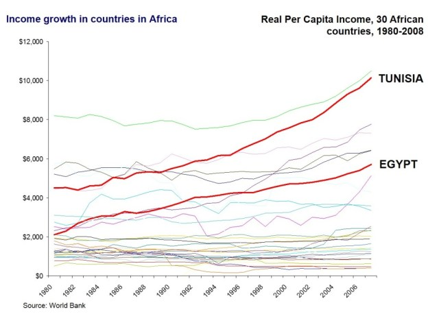 Real per capita income in 30 African countries, 1980-2008