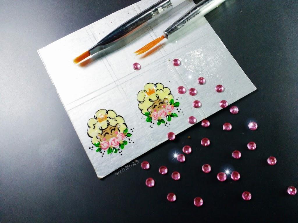 Adesivos artesanais na caixa de leite – Bonequinha e rosas de uma forma simples