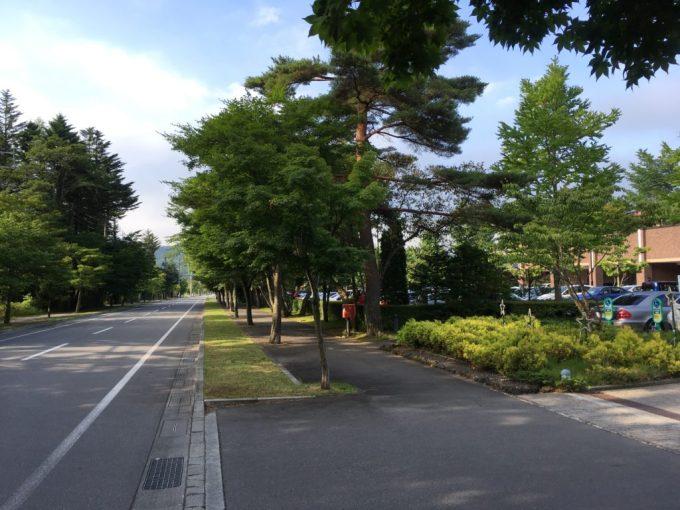 東急ハーベスト旧軽井沢前のまっすぐな道路