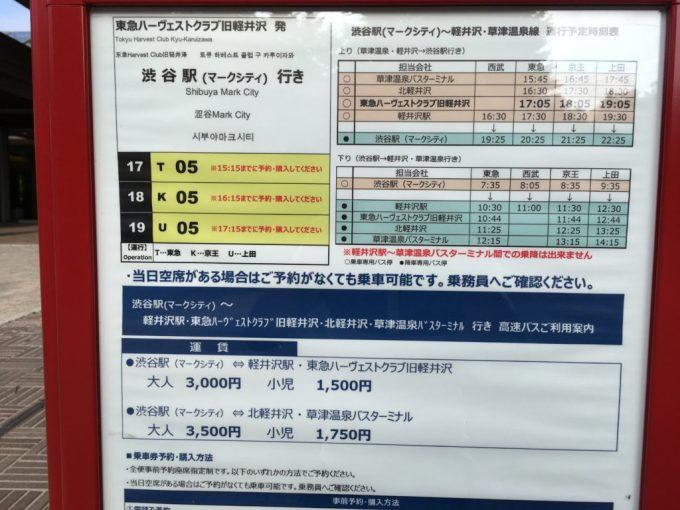 東急ハーベスト旧軽井沢と渋谷駅をつなぐ高速バスのバス時刻表