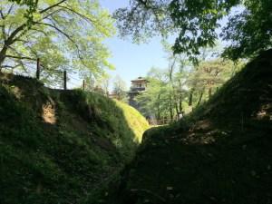 沼田城の西櫓脇の堀