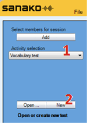 Picture showing where the Vocabulary test option is