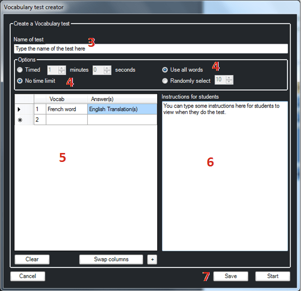 Picture showing the Vocabulary test creator window