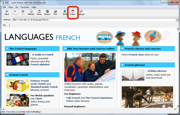 Picture illustrating how you can keep students looking at the same Web page as you