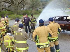 Scott Mullin briefs fire academy trainees