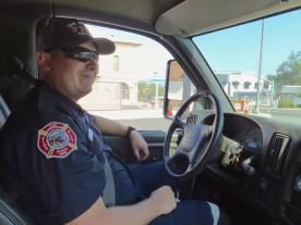 Caleb Wickham at the wheel of SAFPD Engine 163.