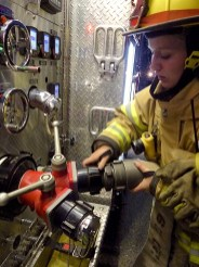Connecting a supply line to Engine 165.