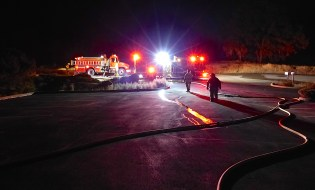 Night training helps firefighters sharpen skills.