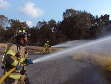 Two nozzles in use during the training exercise.