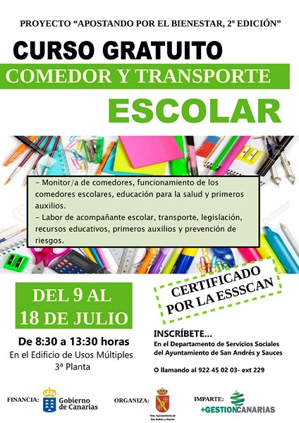 CURSO. Comedor y Transporte Escolar - Ayuntamiento de San Andrés y ...