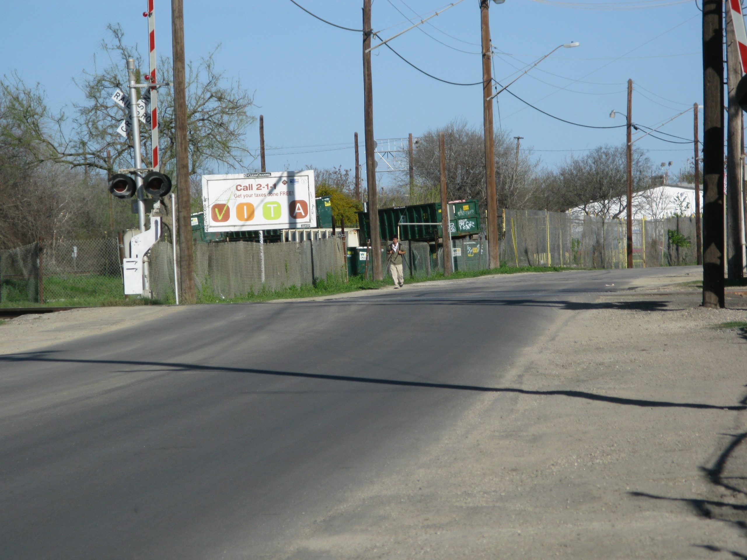 The east-facing street view of Lone Star Boulevard on the way to Mission Reach.