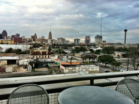 San Antonio downtown view from Judson condominiums.