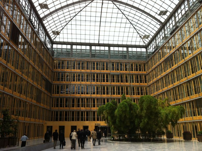 The atrium of the Federation Of German Industries headquarters.