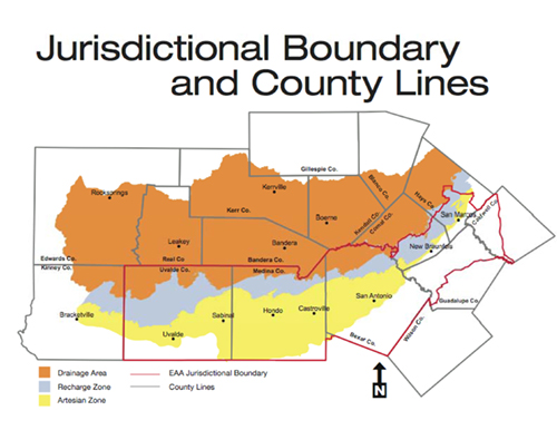 The Edwards Aquifer Authority covers, 8,800 square miles spread over eight counties.