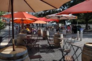 temporary seating and shade