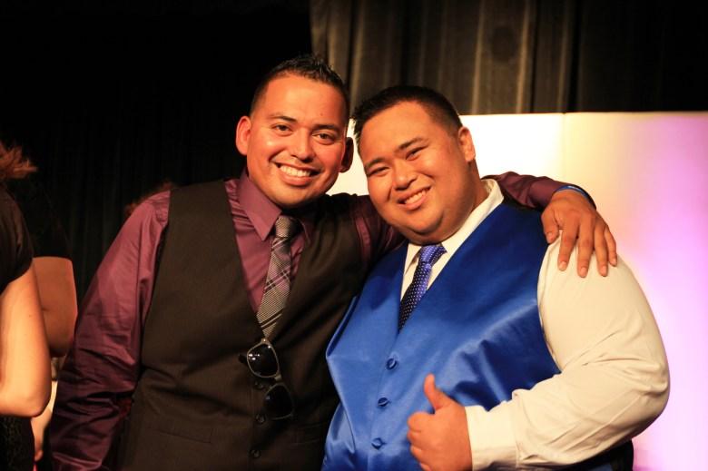 Michael Mercado and Benjamin Alvarez pose for a photo during the HEB Slimdown Showdown