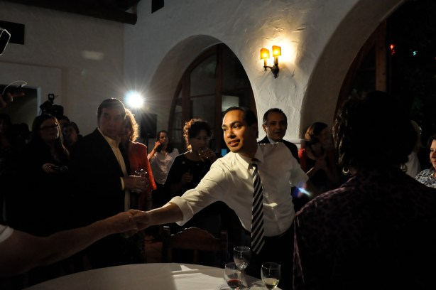 Mayor Castro stretches to shake hands