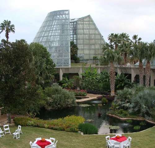 View of a Botanical Garden pavilion during the Slow Food South Texas Harvest Gala on Saturday, Nov 3, 2012.