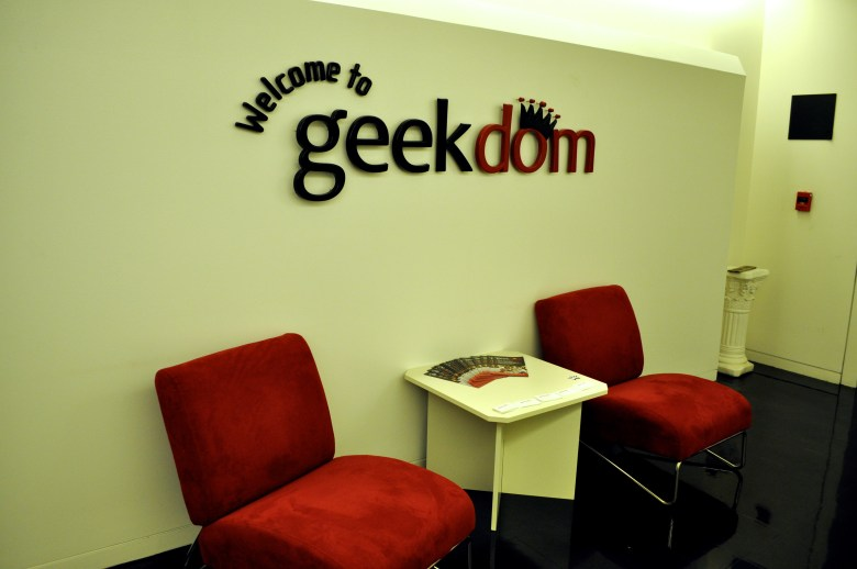 Geekdom elevator lobby on the 11th floor of the Weston Centre.