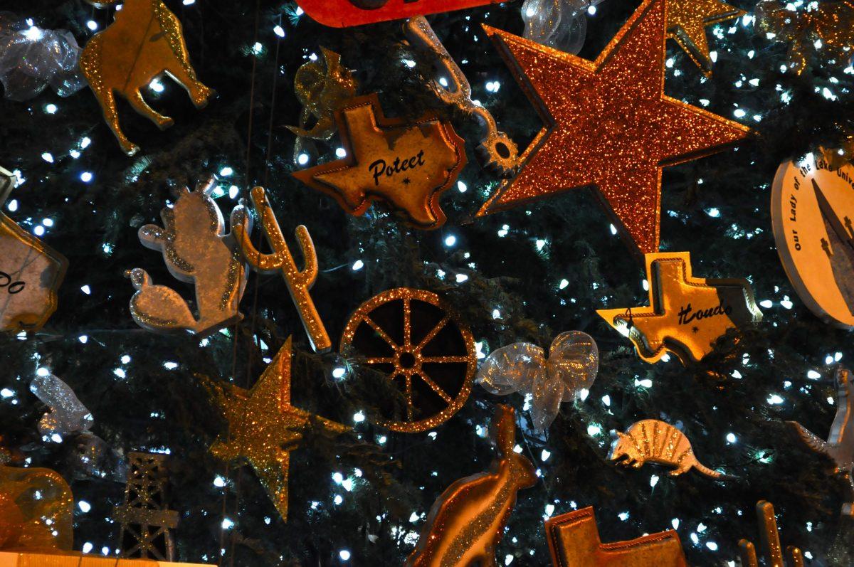 Ornaments on the Alamo Plaza Christmas tree. Photo by Iris Dimmick.