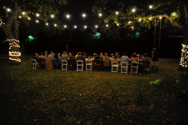 Jennifer Dobbertin's Riff Raff Supper Club, one of several pop-up dinner events, took place on the riverside lawn of Marshal and Josey Davidson's King William home in December 2012. Photo by Peter French