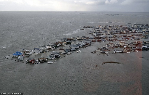 A flooded community in Tuckerton, New Jersey. Photo from the U.S. Coast Guard.
