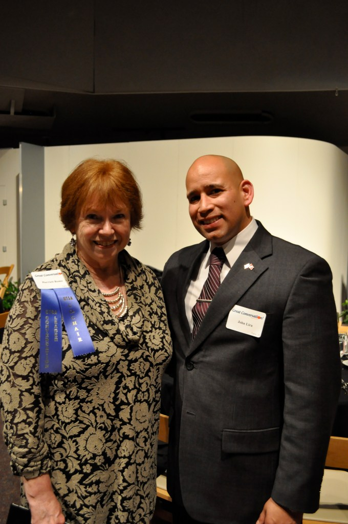 "UTSA's ""First Lady"" and Mexico Center Director Harriett Romo with recent UTSA Honors College graduate John ___."