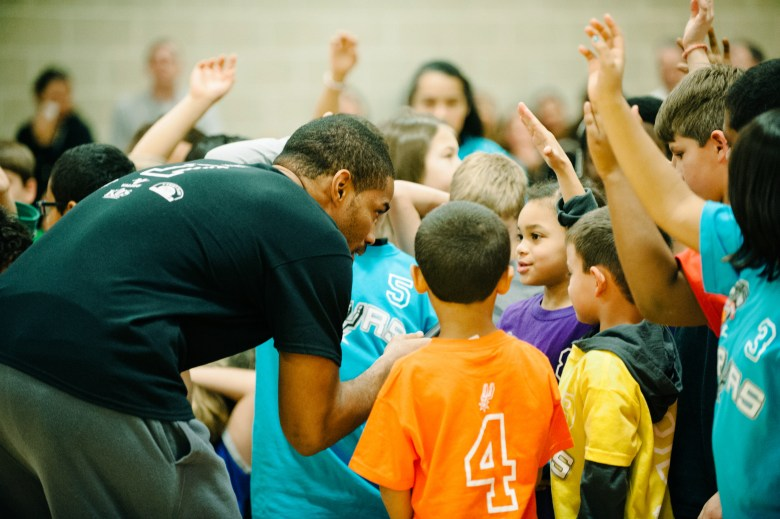 Spurs player Gary Neal at the Walzem YMCA for a SYBL clinic. Photo courtesy of Katie Funk.