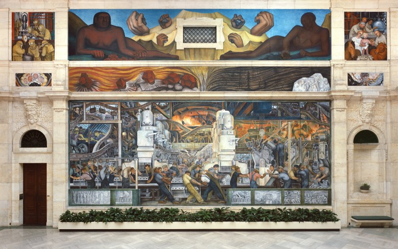 (Click photo for enlarged image.) North wall of a mural depicting Detroit Industry, 1932-33 (fresco) (see also 139315-7 & 112945 & 47), Rivera, Diego (1886-1957) / Detroit Institute of Arts, USA / Gift of Edsel B. Ford / The Bridgeman Art Library