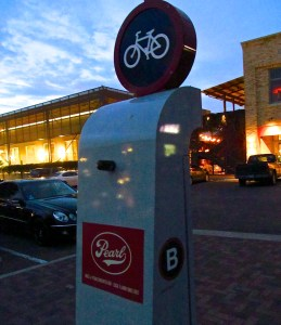 The Pearl Brewery's B-cycle station. Photo by Tom Trevino.