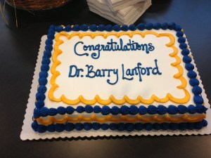 The surprise cake stashed in the library.