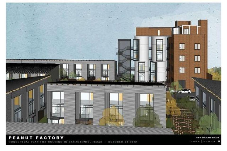 A rendering of the new Peanut Factory Lofts. Image courtesy of Lake   Flato architecture.