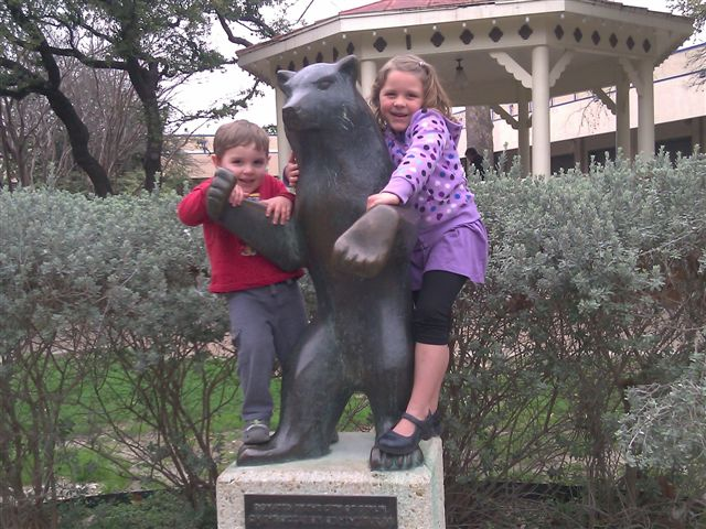My children crawling on the Berlin Bear statue in Hemisfair Park. Photo courtesy of the Martin Family.