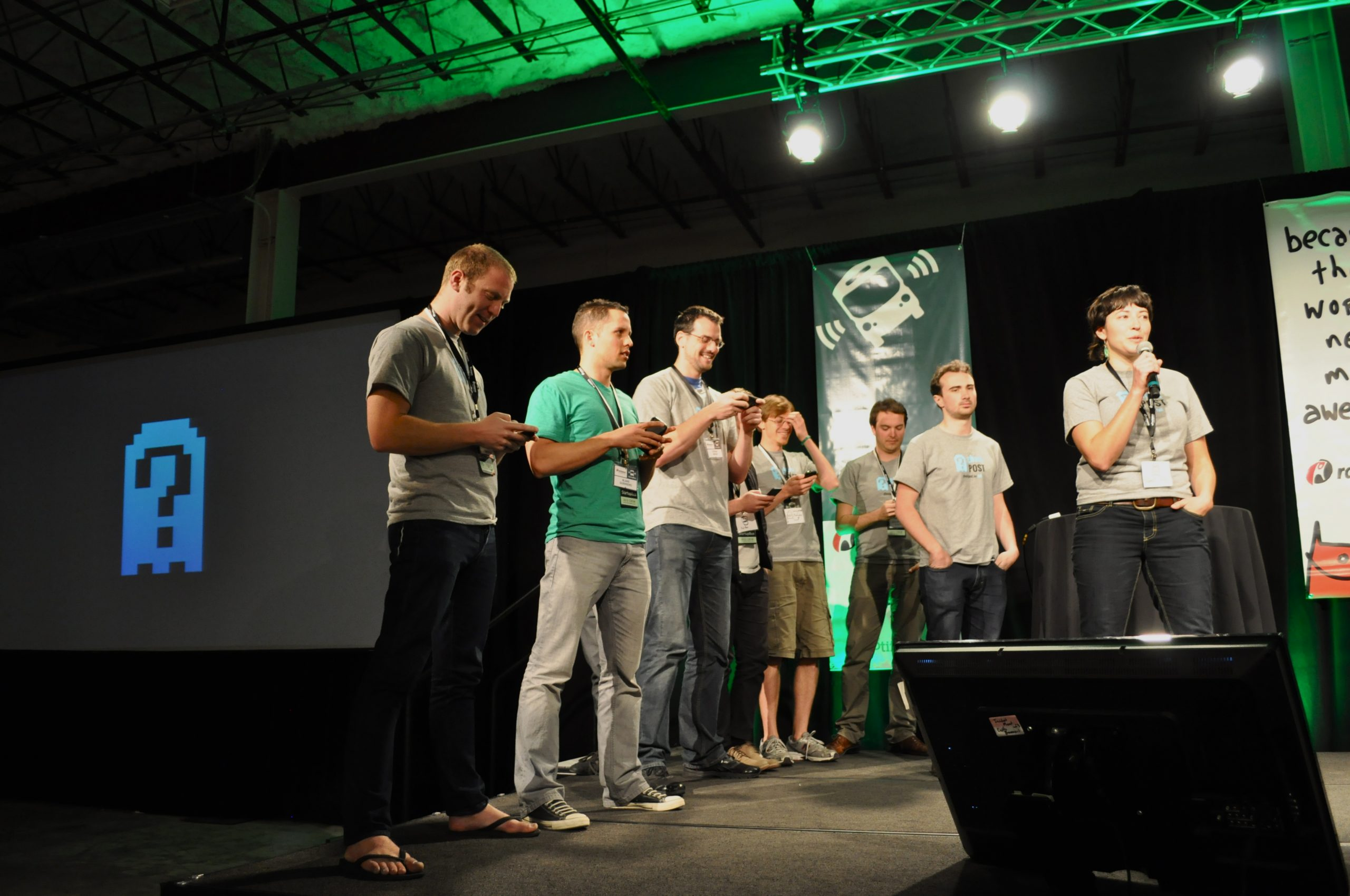 The ghostPOST team pitches to the panel of judges. Photos by Iris Dimmick.