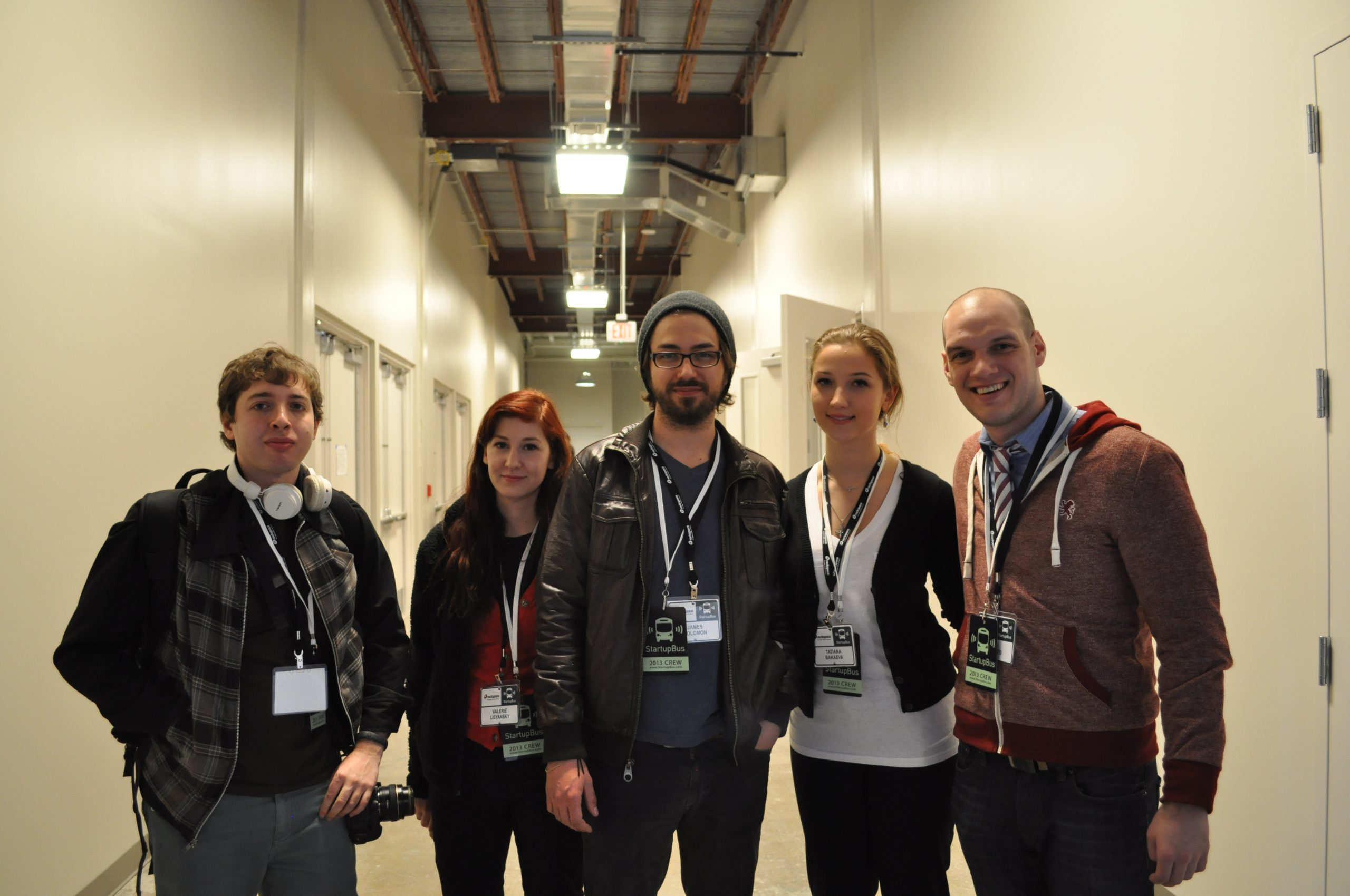 CareerMob, winner of the StartUpBus finals at Rackspace. From left: Matthew Bergami, Valerie Lisyansky, James Solomon, Tatiana Alexsadrovna and Josh Seefried.